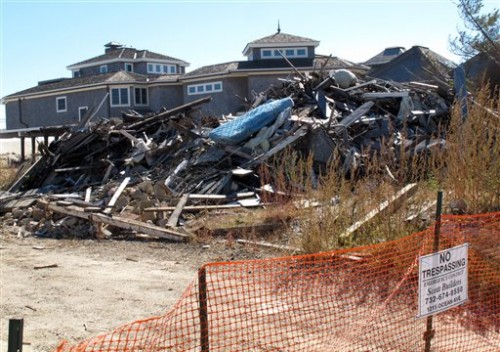 An oceanfront home in Mantoloking N.J. damaged by Superstorm Sandy.  (AP Photo/Wayne Parry)