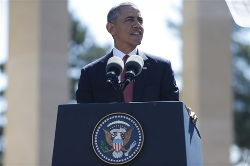 President Barack Obama  speaks at Normandy American Cemetery at Omaha Beach  (AP Photo/Charles Dharapak)