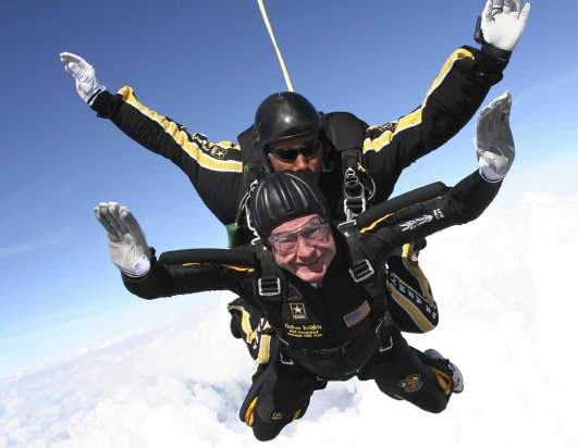 Former President George H.W. Bush in a 2007 skydive  (Photo by Sgt. 1st Class Kevin McDaniel)