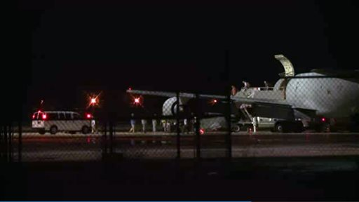 Lackland Air Force Base in San Antonio Texas early Friday morning.  (AP Photo/AP Video)