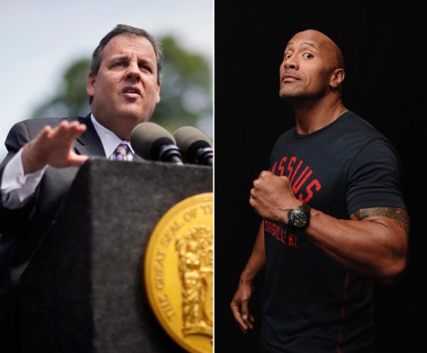 "New Jersey Gov. Chris Christie and Dwayne Johnson: They might be ""buddies"" but not in videos."
