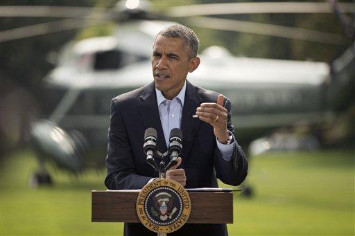 President Barack Obama speaks on the South Lawn  (AP Photo/Pablo Martinez Monsivais)