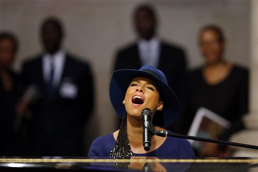 Singer Alicia Keys performs during a memorial service for actress Ruby Dee at The Riverside Church  (AP Photo/Jason DeCrow)