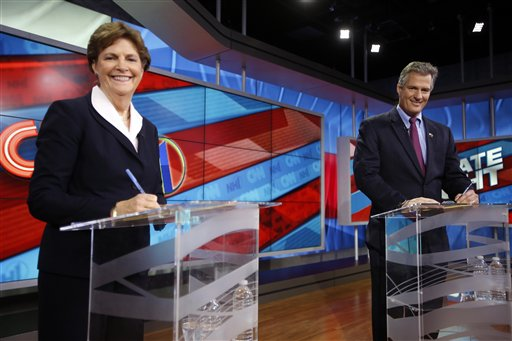 Sen. Jeanne Shaheen, D-N.H., left, and former Massachusetts Sen. Scott Brown  (AP Photo/Jim Cole)