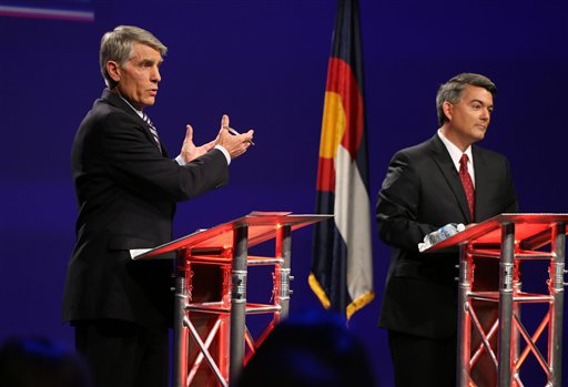 Sen. Mark Udall, D-Colo., left, and his Republican opponent, Rep. Cory Gardner, R-Colo. (AP Photo/Brennan Linsley)