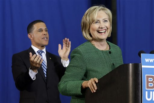 Former Secretary of State Hillary Rodham Clinton, right, campaigns for Maryland Democratic gubernatorial candidate, Lt. Gov. Anthony Brown  (AP Photo/Patrick Semansky)