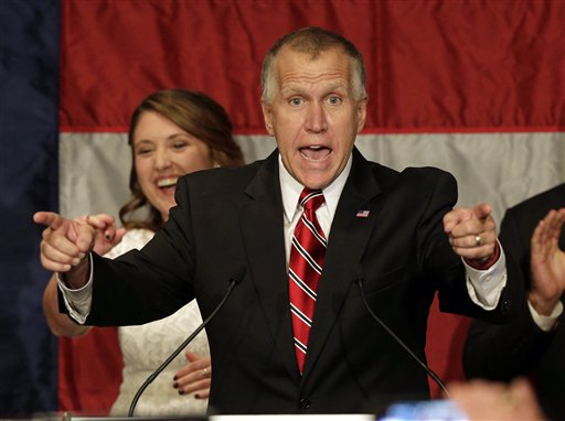 Republican Senate candidate and North Carolina House Speaker Thom Tillis speaks to supporters at an election night rally in Charlotte  (AP Photo/Chuck Burton)