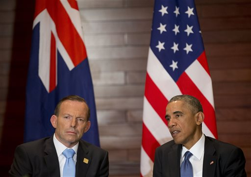 U.S. President Barack Obama, right, and Australian Prime Minister Tony Abbott (AP Photo/Pablo Martinez Monsivais)