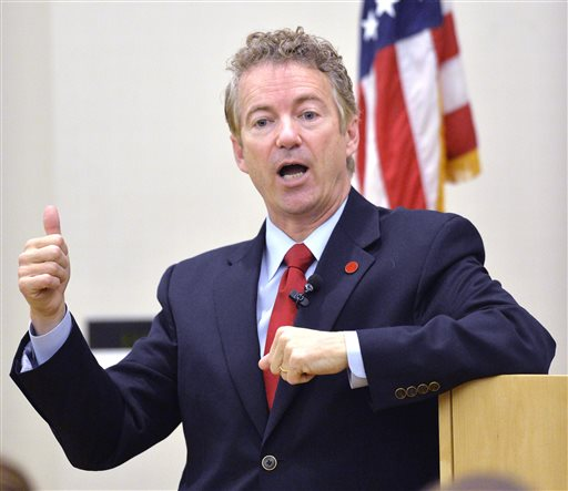 Kentucky Senator Rand Paul speaks to the Chase Federalist Society at Northern Kentucky University  (AP Photo/Timothy D. Easley)