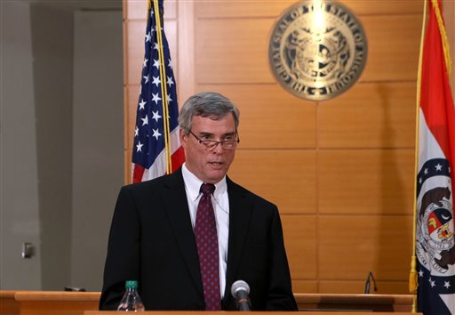 St. Louis County Prosecutor Robert McCulloch announces the grand jury's decision not to indict Ferguson police officer Darren Wilson in the Aug. 9 shooting of Michael Brown, an unarmed black 18-year old,  on Monday  (AP Photo/St. Louis Post-Dispatch, Cristina Fletes-Boutte, Pool)