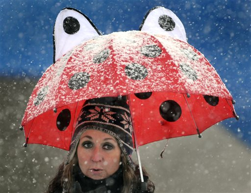 Kellie Shea of Worcester, Mass. uses an umbrella to take shelter from the heavy wet snow while watching the Doherty vs. Burncoat Thanksgiving Day football game at Foley Stadium in Worcester  (AP Photo/Worcester Telegram & Gazette, Paul Kapteyn)