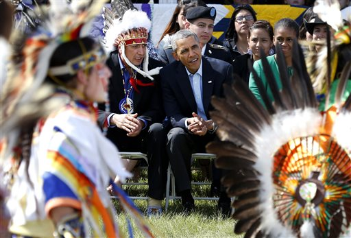 President Barack Obama and Chairman of the Standing Rock Sioux Tribe David Archambault II (AP Photo/Charles Rex Arbogast)