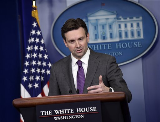 White House press secretary Josh Earnest speaks during the daily briefing at the White House in Washington (AP Photo/Susan Walsh)