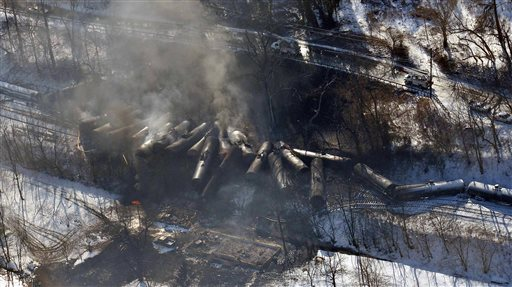 A derailed train in Mount Carbon, WVa.  (AP Photo/ Office of the Governor of West Virginia, Steven Wayne Rotsch,File)