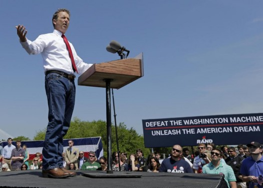 Republican Presidential candidate, Sen. Rand Paul, R-Ky., speaks at a rally at the USS Yorktown in Mount Pleasant, S.C.  (AP Photo/Chuck Burton)