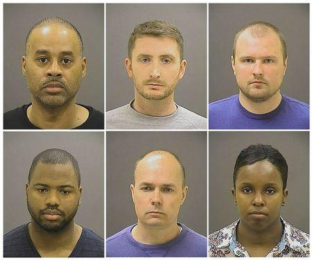 Officer Caesar R. Goodson Jr., Officer Edward M. Nero, Officer Garrett E Miller (top L-R), Officer William G. Porter, Lt. Brian W. Rice, Sgt. Alicia D. White (bottom L-R), are pictured in these booking photos provided by the Baltimore Police Department.