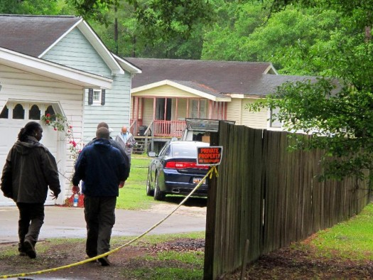 Investigators work at a scene of a shooting in Hollywood, S.C.,  (AP Photo/Bruce Smith)