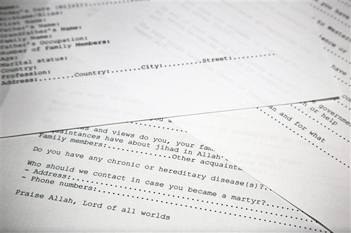 A translated copy of an application to join Osama bin Laden's terrorist network is photographed in Washington. (AP Photo)