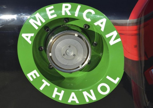 American Ethanol label is shown on a NASCAR race car gas tank at Texas Motor Speedway in Fort Worth, Texas. (AP Photo/Randy Holt)