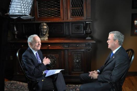 Bob Schieffer interviews former Florida Gov.Jeb Bush in Nashville.  (Rob Hendin/CBS News via AP)
