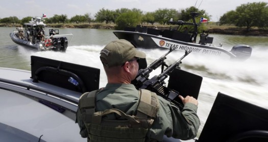 Texas Department of Safety Troopers patrol on the Rio Grand along the U.S.-Mexico border.  (AP Photo/Eric Gay)