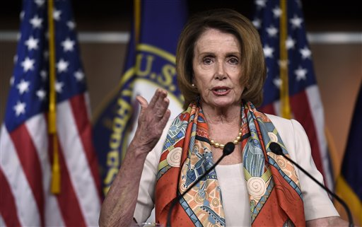 House Minority Leader Nancy Pelosi of Calif. speaks during a news conference on Capitol Hill in Washington.  (AP Photo/Susan Walsh)