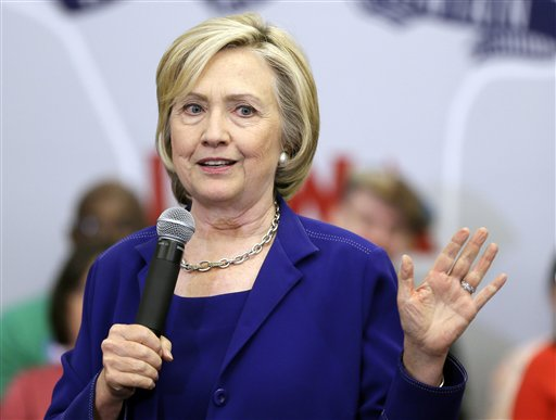 Democratic presidential candidate Hillary Rodham Clinton speaks during a campaign stop at the Iowa City Public Library.  (AP Photo/Charlie Neibergall)