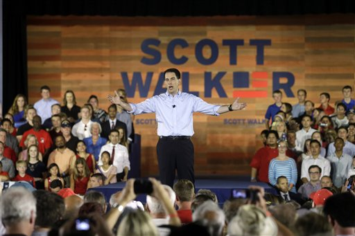 Wisconsin Gov. Scott Walker speaks to supporters as he announces he is running for the 2016 Republican presidential nomination at the Waukesha County Expo Center. (AP Photo/Morry Gash)
