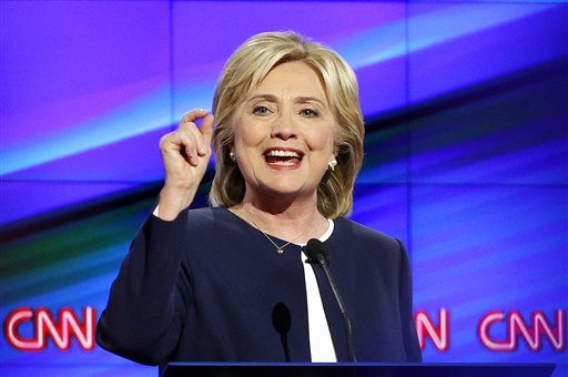 Hillary Rodham Clinton speaks during the CNN Democratic presidential debate Tuesday, Oct. 13, 2015, in Las Vegas. Clinton and Sen. Bernie Sanders clashed over U.S. involvement in the Middle East, gun control and economic policy in the first Democratic presidential debate, outlining competing visions for a party seeking to keep the White House for a third straight term.(AP Photo/John Locher)