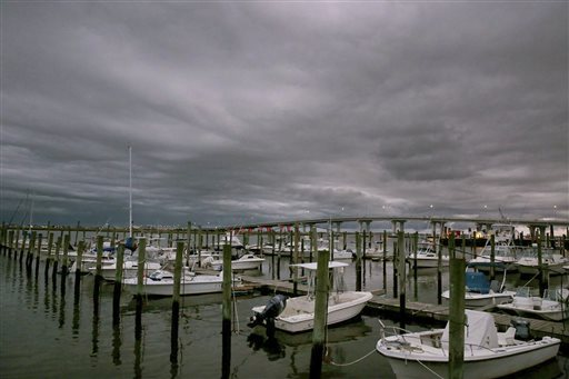 Clouds mark a low-pressure system moving into Somers Point, N.J.,  Wednesday, Sept. 30, 2015. A strengthening Hurricane Joaquin approached the central islands of the Bahamas on Wednesday evening, following a projected track that would take it near the U.S. East Coast by the weekend. The U.S. National Hurricane Center's long-term forecast showed the storm could near the U.S. East Coast above North Carolina on Sunday. (Vernon Ogrodnek/The Press of Atlantic City via AP) MANDATORY CREDIT