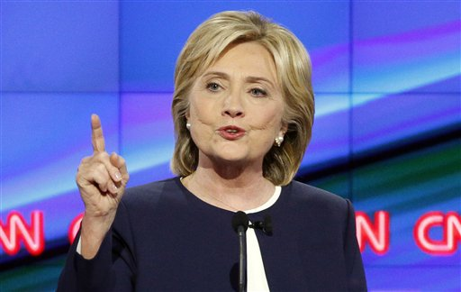 FILE - In this Oct. 13, 2015, file photo, Hillary Rodham Clinton speaks during the CNN Democratic presidential debate in Las Vegas. Democrats appear to be rallying around Clinton after her command performance in the party's first presidential debate, with strong majorities viewing her favorably and more saying she can win the White House than any of her rivals, a new Associated Press-GfK poll shows.  (AP Photo/John Locher, File)