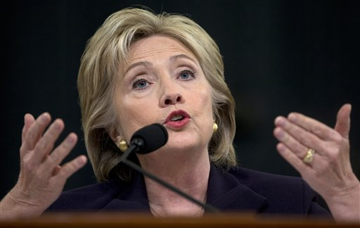 Democratic presidential candidate former Secretary of State Hillary Rodham Clinton testifies on Capitol Hill in Washington, Thursday, Oct. 22, 2015, before the House Select Committee on Benghazi. (AP Photo/Carolyn Kaster)