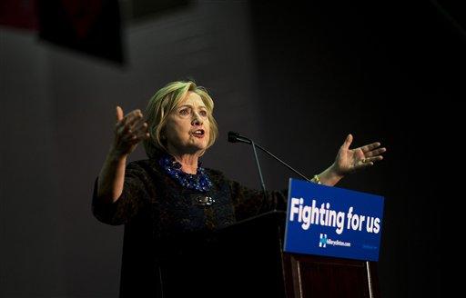 Democratic presidential candidate Hillary Rodham Clinton speaks during a campaign event at Clark Atlanta University in Atlanta, Friday, Oct. 30, 2015. (AP Photo/David Goldman)
