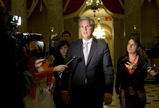 FILE - In this Oct. 21, 2015 file photo, House Majority Leader Kevin McCarthy of Calif., talks to media on Capitol Hill in Washington. McCarthy is giving no indication that last week's fatal shootings at a Planned Parenthood clinic in Colorado will affect a House probe of the group for providing fetal tissue to researchers.  (AP Photo/Carolyn Kaster, File)
