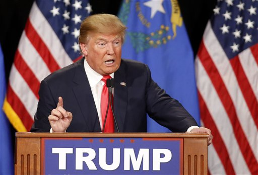 Republican presidential candidate Donald Trump speaks during a campaign rally on Thursday, Jan. 21, 2016, in Las Vegas. (AP Photo/Isaac Brekken)