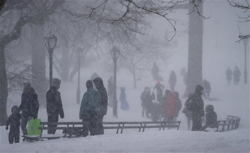 Despite adverse weather conditions, people visit New York's Central Park as a large winter storm enveloped the East Coast on Saturday, Jan. 23, 2016. (AP Photo/Craig Ruttle)
