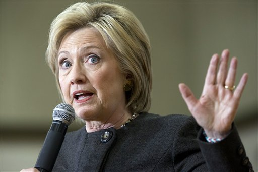 Democratic presidential candidate Hillary Clinton speaks during a campaign event at the Knoxville School District Administration Office, Monday, Jan. 25, 2016, in Knoxville, Iowa. (AP Photo/Mary Altaffer)