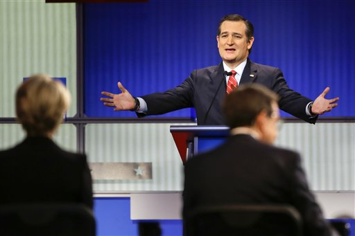 Republican presidential candidate Sen. Ted Cruz, R-Texas, answers a question during a Republican presidential primary debate, Thursday, Jan. 28, 2016, in Des Moines, Iowa. (AP Photo/Charlie Neibergall)