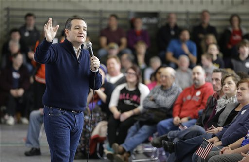 Republican presidential candidate, Sen. Ted Cruz, R-Texas, speaks at Green County Community Center, Monday, Feb. 1, 2016, in Jefferson, Iowa. (AP Photo/Chris Carlson)
