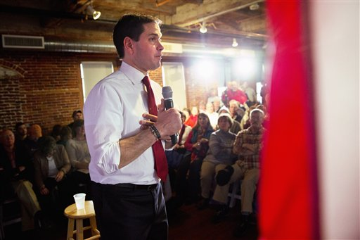Republican presidential candidate, Sen. Marco Rubio, R-Fla. speaks during a town hall meeting in Laconia, N.H., Wednesday Feb. 3, 2016. (AP Photo/Jacquelyn Martin)