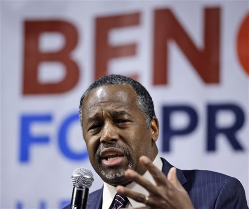 Republican presidential candidate Ben Carson speaks during a town hall meeting Sunday, Feb. 21, 2016, in Reno, Nev. (AP Photo/Marcio Jose Sanchez)