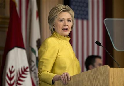 Democratic presidential candidate Hillary Clinton speaks about counterterrorism, Wednesday, March 23, 2016, at the Bechtel Conference Center at Stanford University in Stanford, Calif. (AP Photo/Carolyn Kaster)