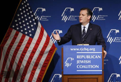 Republican presidential candidate, Sen. Ted Cruz, R-Texas, speaks at the Republican Jewish Coalition spring leadership meeting, Saturday, April 9, 2016, in Las Vegas. (AP Photo/John Locher)
