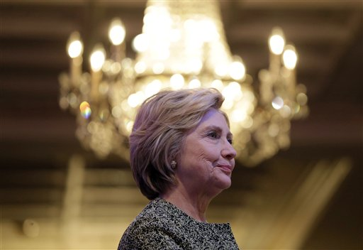 Democratic presidential candidate Hillary Clinton prepares to speak during a Suffolk County Democratic dinner in Holbrook, N.Y., Monday, April 11, 2016. (AP Photo/Seth Wenig)