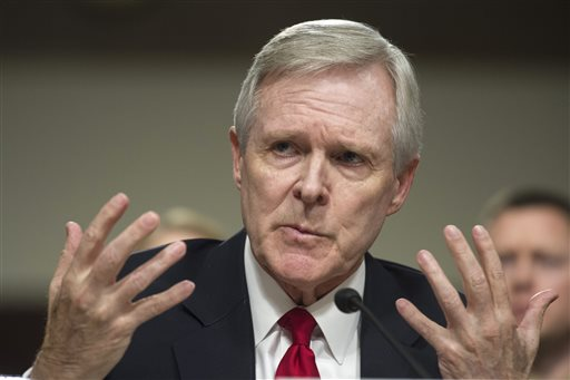 FILE - In this Feb. 2, 2016 file photo, Navy Secretary Ray Mabus Jr. gestures while testifying on Capitol Hill in Washington,  before the Senate Armed Services Committee hearing to examine the implementation of the decision to open all ground combat units to women. Mabus has squared off against Marine Corps leaders who resisted recruiting women for all combat jobs. On Tuesday, April 12, 2016, he takes his case to a broader audience at Camp Pendleton, Calif. (AP Photo/Cliff Owen, File)