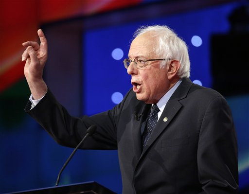 Democratic presidential candidate Sen. Bernie Sanders, I-Vt., speaks during the CNN Democratic Presidential Primary Debate with Hillary Clinton at the Brooklyn Navy Yard on Thursday, April 14, 2016, in New York. (AP Photo/Seth Wenig)