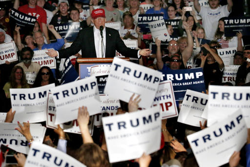 Republican presidential candidate Donald Trump speaks during a rally, Friday, April 22, 2016, at the Delaware State Fairgrounds in Harrington, Del. (AP Photo/Julio Cortez)