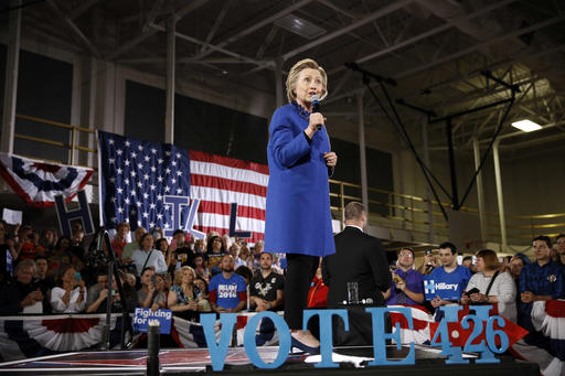 Democratic presidential candidate Hillary Clinton speaks during a campaign stop, Monday, April 25, 2016, at Westmoreland County Community College in Youngwood, Pa. (AP Photo/Matt Rourke)