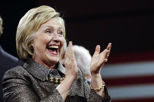 Democratic presidential candidate Hillary Clinton smiles at her presidential primary election night rally, Tuesday, April 26, 2016, in Philadelphia. (AP Photo/Matt Rourke)