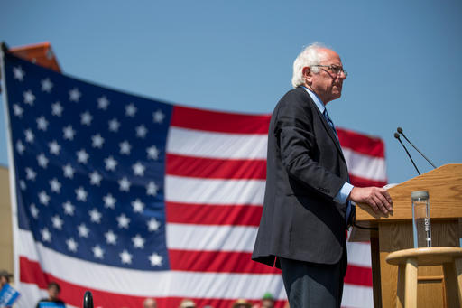 Democratic presidential candidate Bernie Sanders pauses while speaking during a campaign stop in Rapid City, S.D., on Thursday, May 12, 2016. Sanders spoke to hundreds of people on the Pine Ridge Indian Reservation and thousands of people in Rapid City Thursday during a campaign swing through South Dakota. (AP Photo/Kristina Barker)